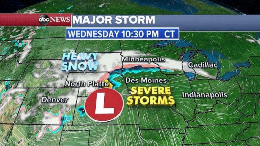 Heavy snow will fall in South Dakota, Nebraska and Minnesota on Wednesday night.
