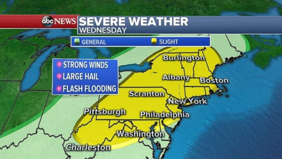 PHOTO: Severe storms will move into the Northeast on Wednesday.