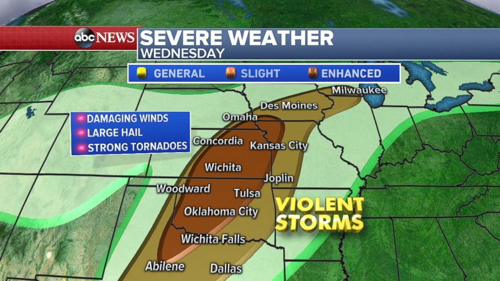 Severe weather threatens central United States ; major warmup coming to East