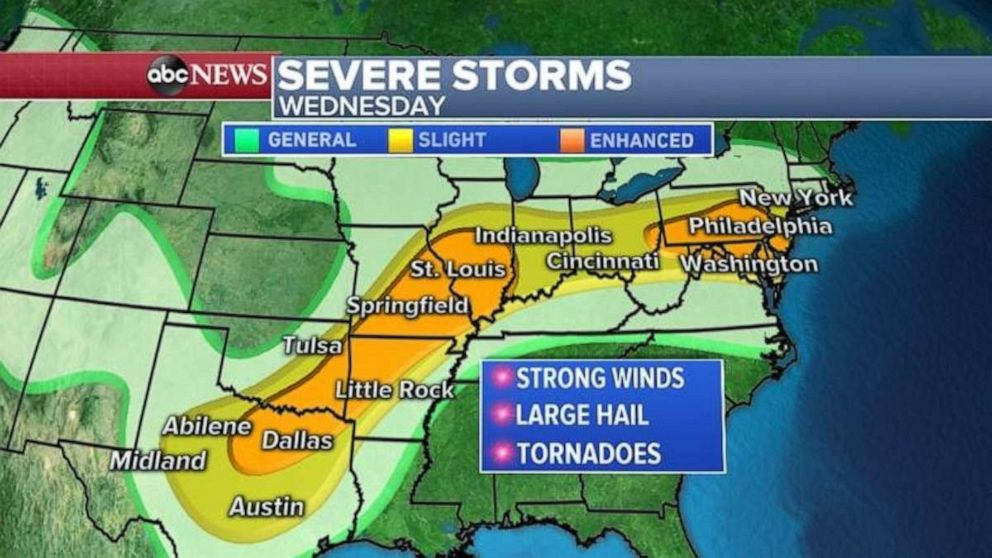 PHOTO: Severe weather is again possible from Texas northeast to Illinois and eastward over to Pennsylvania and New Jersey.