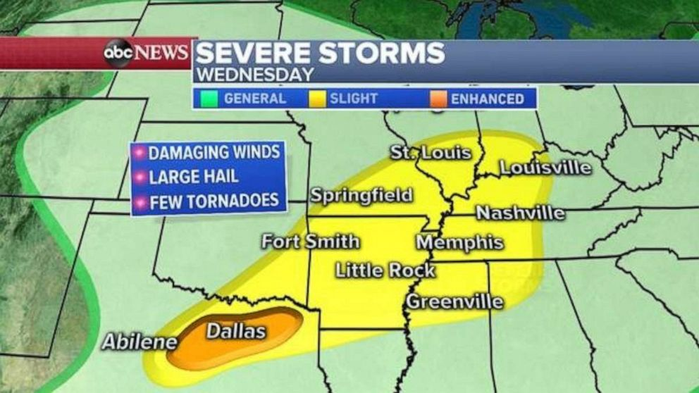 PHOTO: Severe weather is possible in the Dallas area, as well as a large portion of Mississippi River Valley.