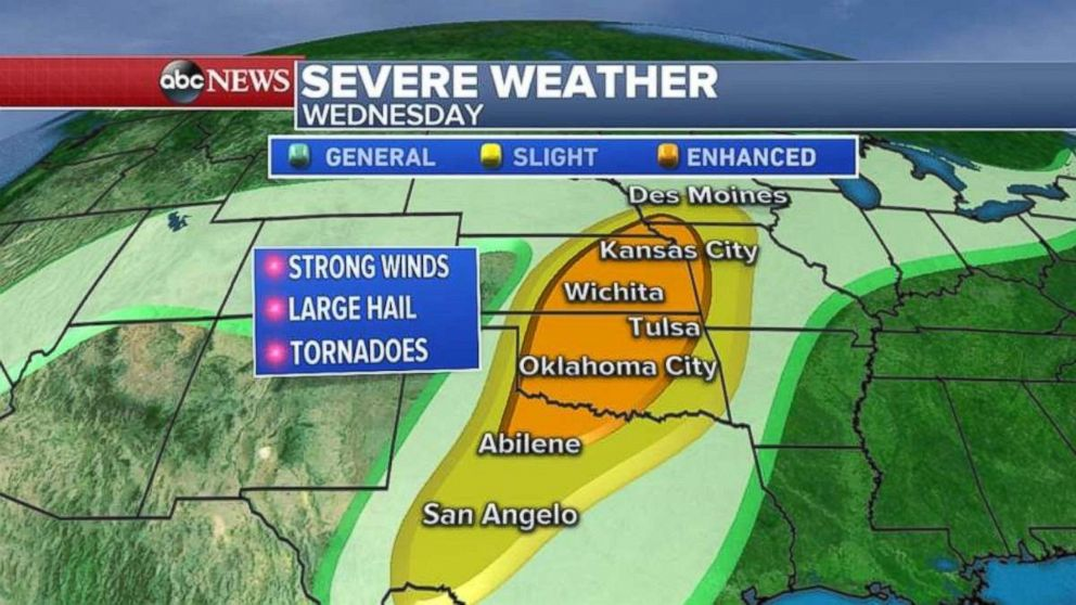 The densely populated areas of Oklahoma City, Wichita and Kansas City are threatened on Wednesday