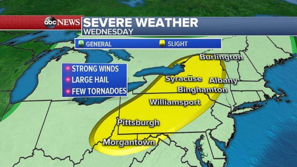 There is a possibility for severe weather on Wednesday throughout Pennsylvania and western and northern New York.