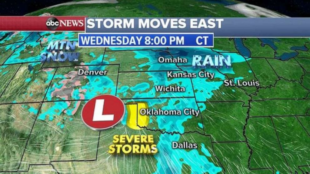 Severe storms are possible in northern Texas and western Oklahoma on Wednesday.