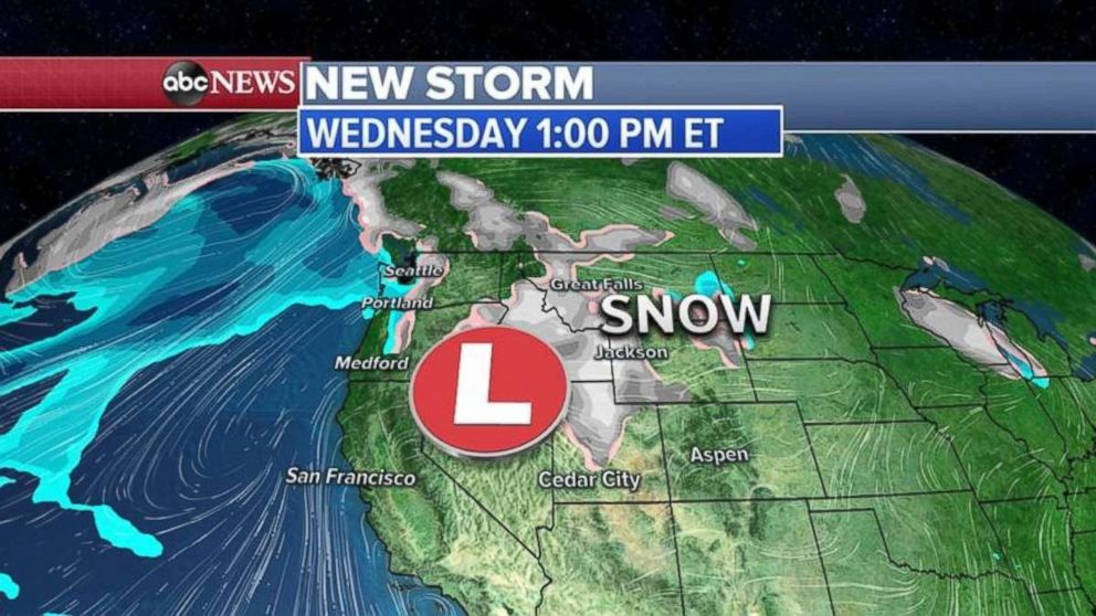 PHOTO: Snow is moving into the Northern Rockies on Wednesday.