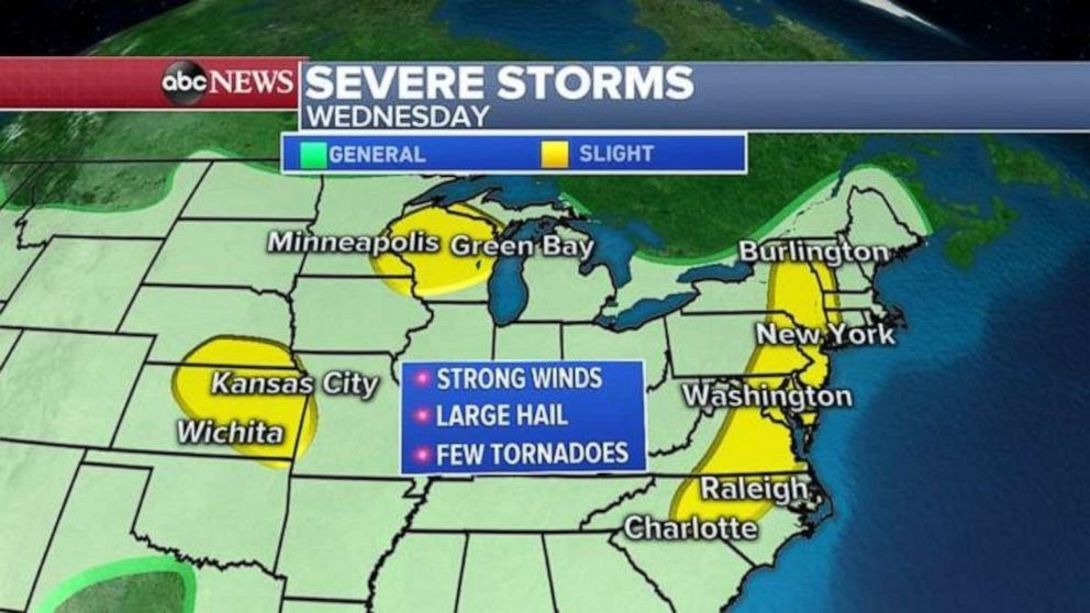 PHOTO: Severe weather is possible in Kansas, Wisconsin and along the East Coast on Wednesday.