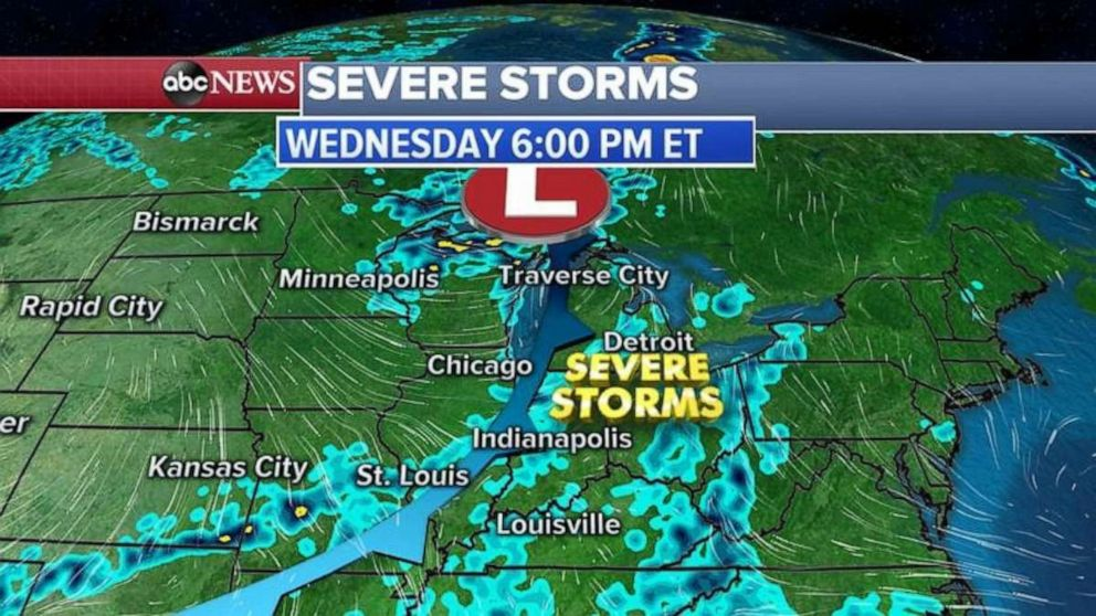 PHOTO: Severe storms will move into the Midwest on Wednesday night.