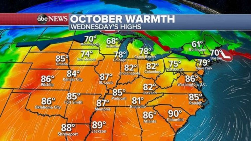 PHOTO: Temperatures will be well above average for this time of year across much of the eastern U.S. on Wednesday.
