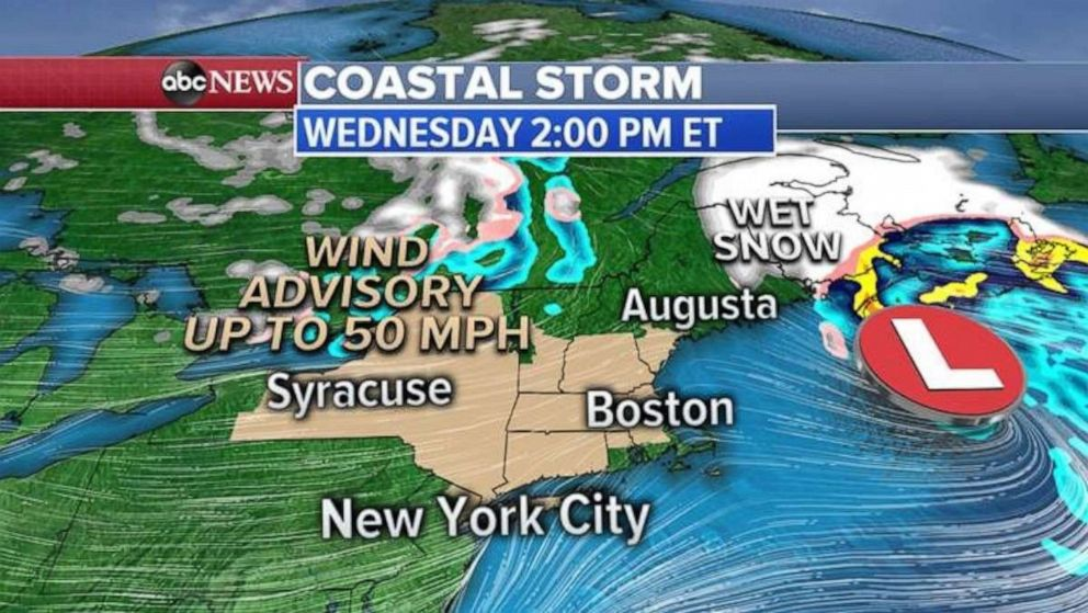 A wind advisory is in place for much of New York and New England as a nor'easter moves out of the region.