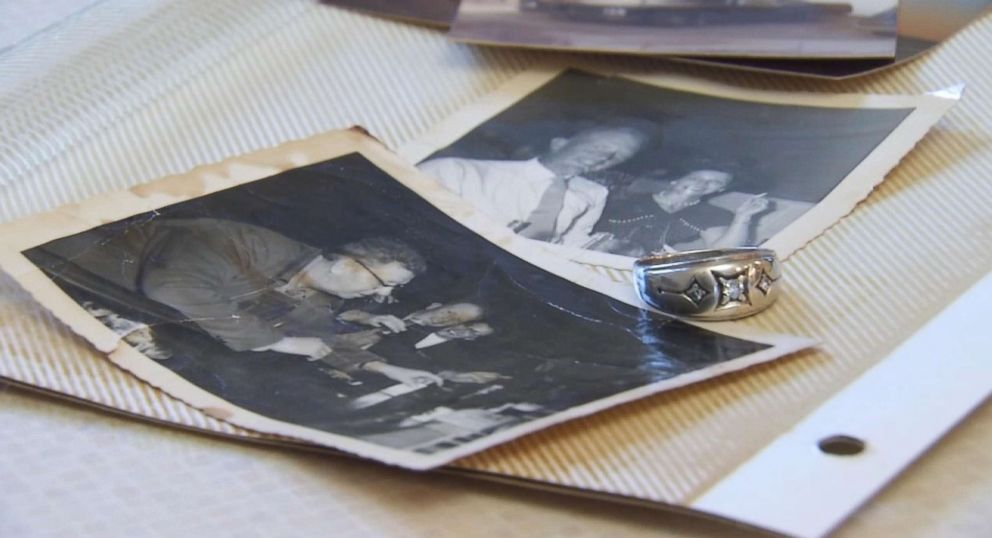 PHOTO: Photos of Ray Schmuecker and his wife, who died from breast cancer, with the wedding ring that turned up after being lost for 40 years.