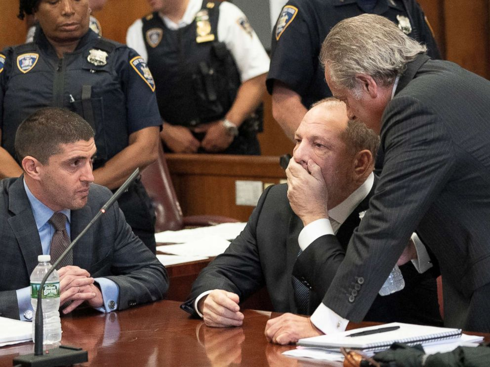 PHOTO: Film producer Harvey Weinstein sits during his hearing at the Manhattan Criminal Court in New York, on October 11, 2018.