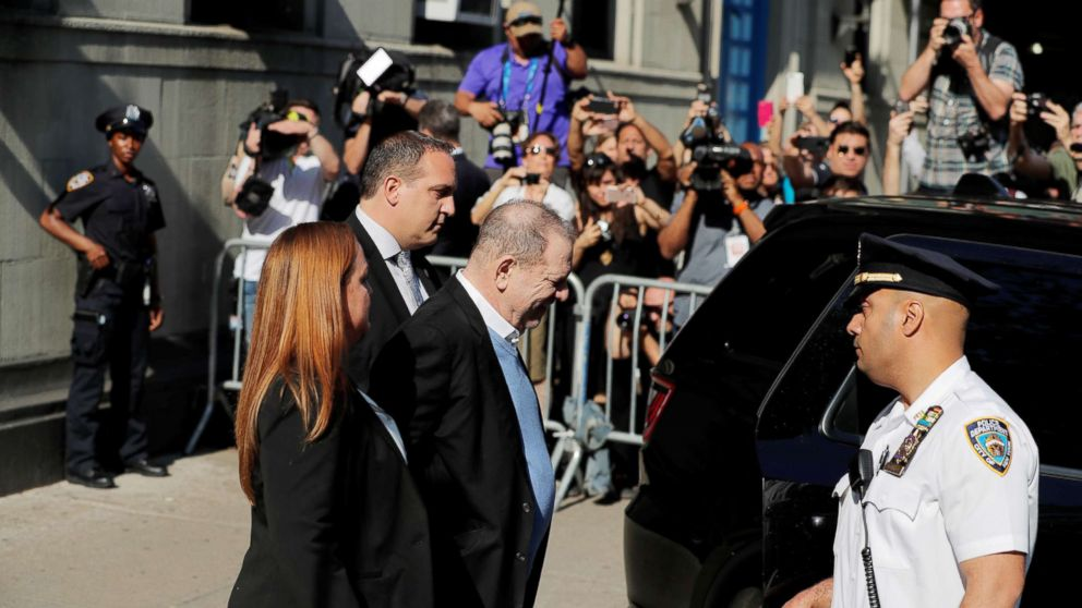Film producer Harvey Weinstein leaves the 1st Precinct in Manhattan in New York, May 25, 2018.