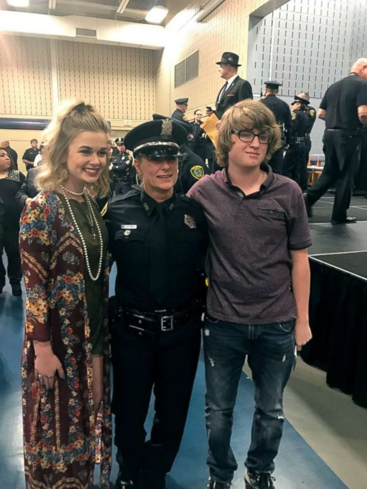 PHOTO: Wendy Caldwell appears at her recent police academy graduation with her two children.