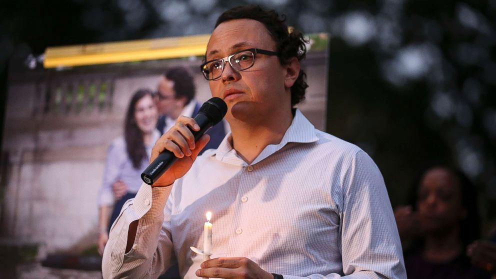 Daniel Hincapie, fiance of Wendy Martinez, speaks during a candlelight vigil in her honor in Washington, D.C. on Sept. 20, 2018.