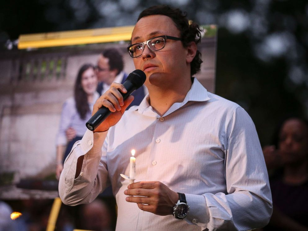 PHOTO: Daniel Hincapie, fiance of Wendy Martinez, speaks during a candlelight vigil in her honor in Washington, D.C. on Sept. 20, 2018.