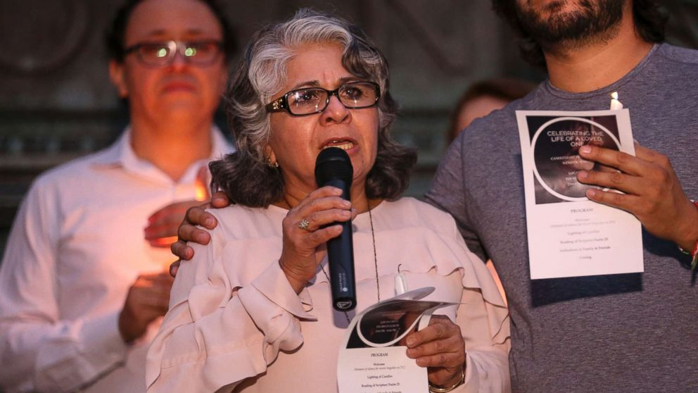 Cora Martinez, the mother of Wendy Matinez who was killed in Washington while jogging, speaks during a candlelight vigil in her daughter's honor on Sept. 20, 2018 in Washington.