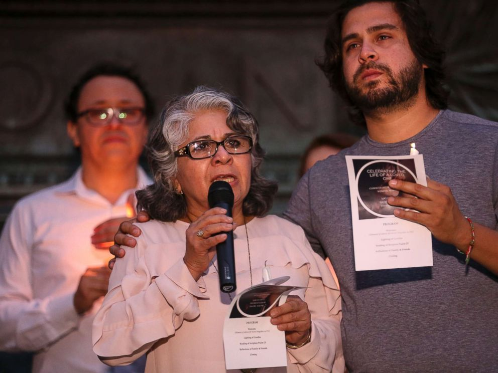 PHOTO: Cora Martinez, the mother of Wendy Matinez who was killed in Washington while jogging, speaks during a candlelight vigil in her daughters honor on Sept. 20, 2018 in Washington.