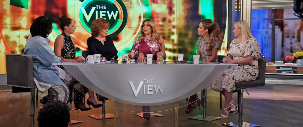 """PHOTO: Wendy Williams talks with """"The View"""" co-hosts Whoopi Goldberg, Abby Huntsman, Joy Behar, Sunny Hostin, and Meghan McCain about divorce, dating, and substance abuse, Sept. 5, 2019."""