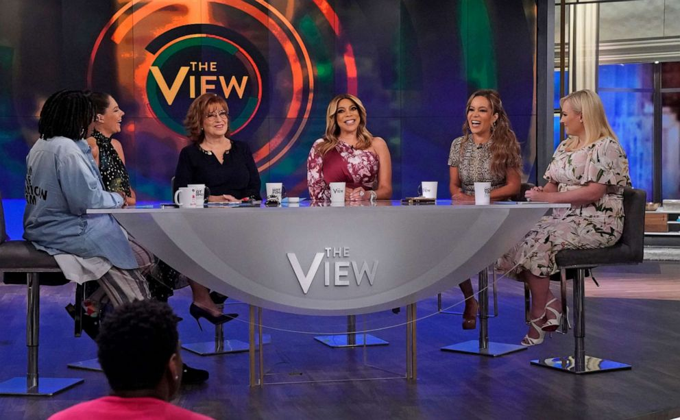 PHOTO: Wendy Williams talks with The View co-hosts Whoopi Goldberg, Abby Huntsman, Joy Behar, Sunny Hostin, and Meghan McCain about divorce, dating, and substance abuse, Sept. 5, 2019.