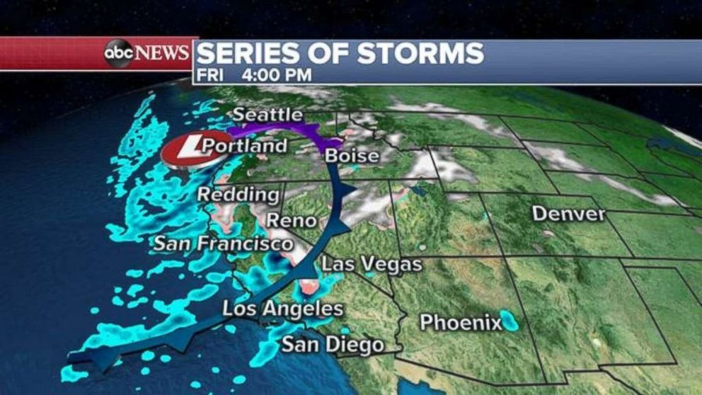 PHOTO: Rain will move onto the West Coast on Friday afternoon.