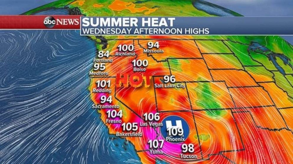 Temperatures will be over 100 degrees in much of California.