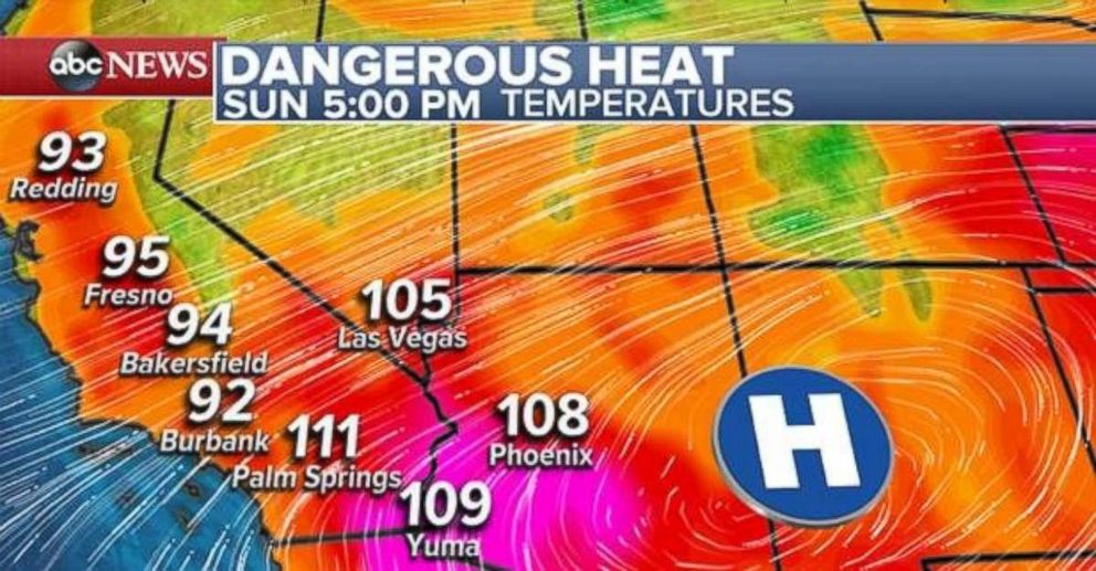 Temperatures in California will be in the mid-90s and over 100 degrees on Sunday.