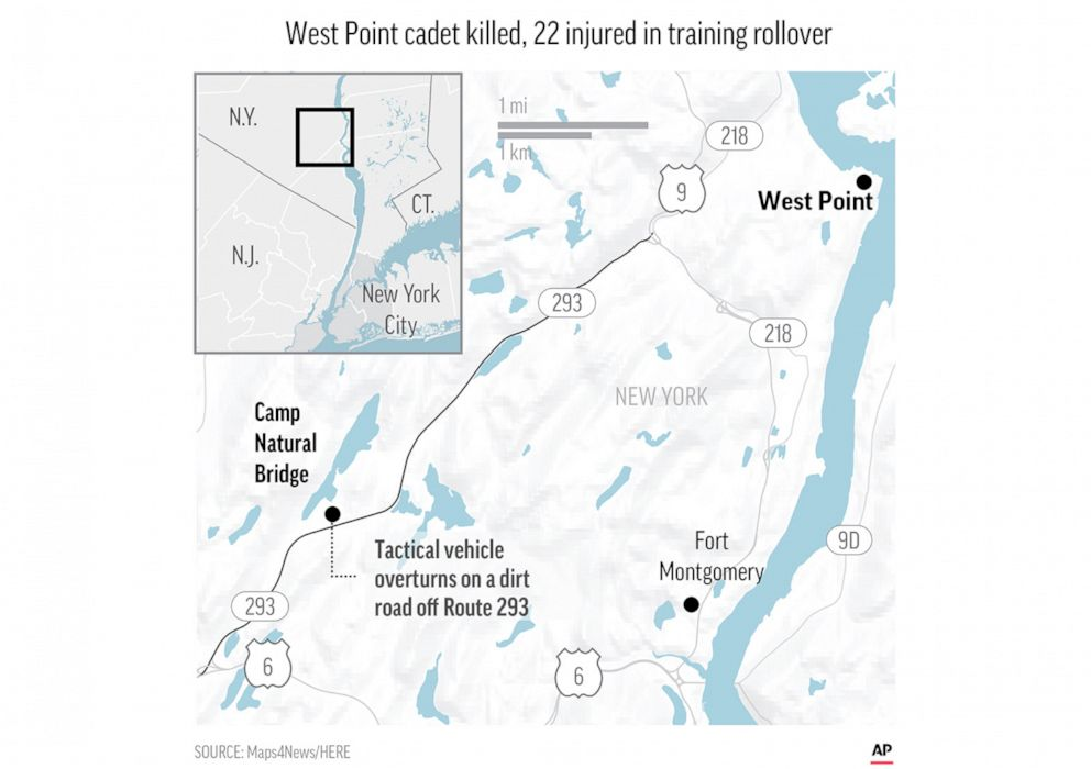 PHOTO: A map released by the Associated Press shows the location where one West Point cadet was killed and 22 were injured in a training accident.