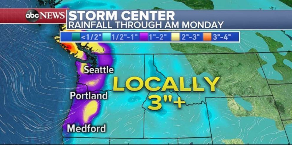 PHOTO: Rainfall totals could be over 3 inches locally along the Washington and Oregon coasts.