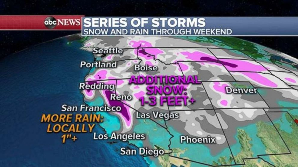 PHOTO: More rain is likely along the California coast, while the mountains could see 1 to 3 feet of snow.
