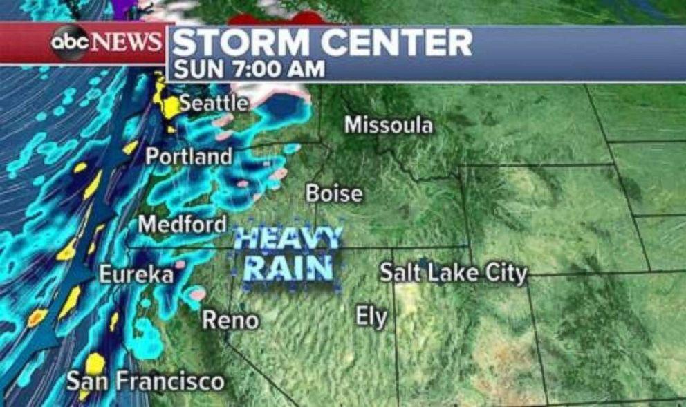 Heavy rain will move onto the West Coast by Sunday morning.