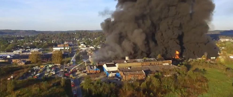 PHOTO: Tim Garretson posted video to Facebook, Oct. 21, 2017, showing a large fire at the former Ames Tool Plant in Parkersburg, West Virginia.