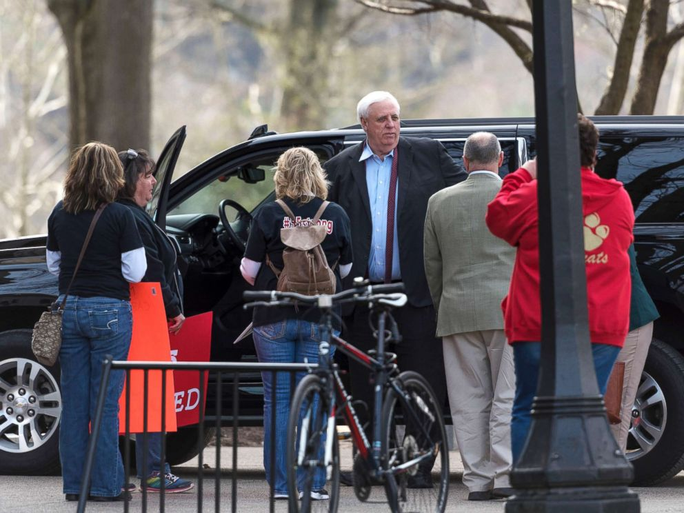 PHOTO: West Virginia Gov. Jim Justice arrives at the capitol in Charleston, W.V., March 5, 2018, the eighth day of statewide school closures due to a teachers strike.