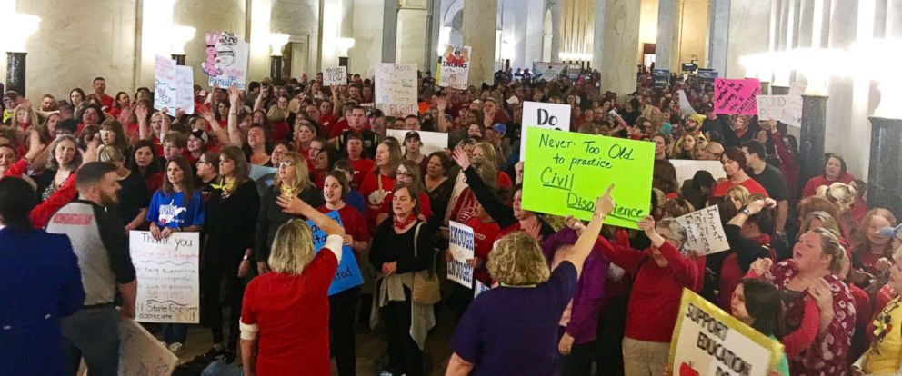 PHOTO: Teachers rally outside the state Senate chambers at the Capitol in Charleston, W.Va., March 1, 2018. Teachers were awaiting a Senate vote on a proposed 5 percent pay increase for them.