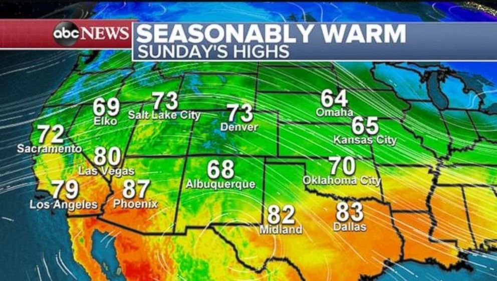 PHOTO: Temperatures will be well above normal through the Rockies on Sunday.