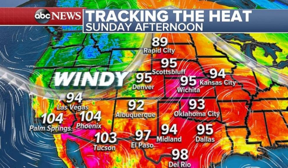 Temperatures will be very hot in the Southwest on Sunday, hurting firefighting efforts in the area.