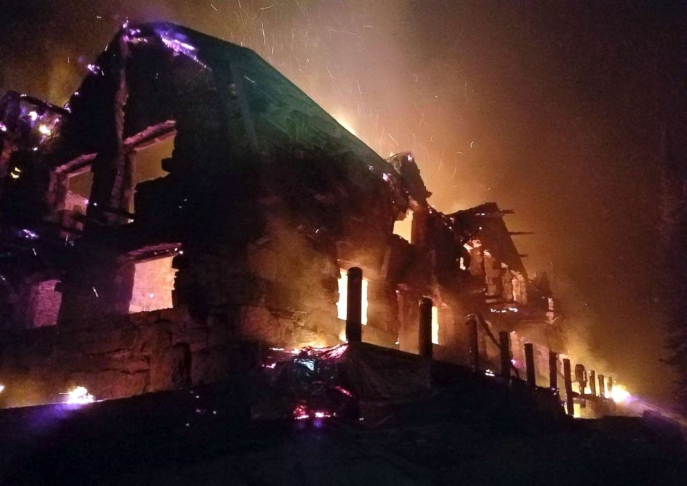PHOTO: The historic main Sperry Chalet building is engulfed in flames on Aug. 31, 2017, in Glacier National Park, Mont.