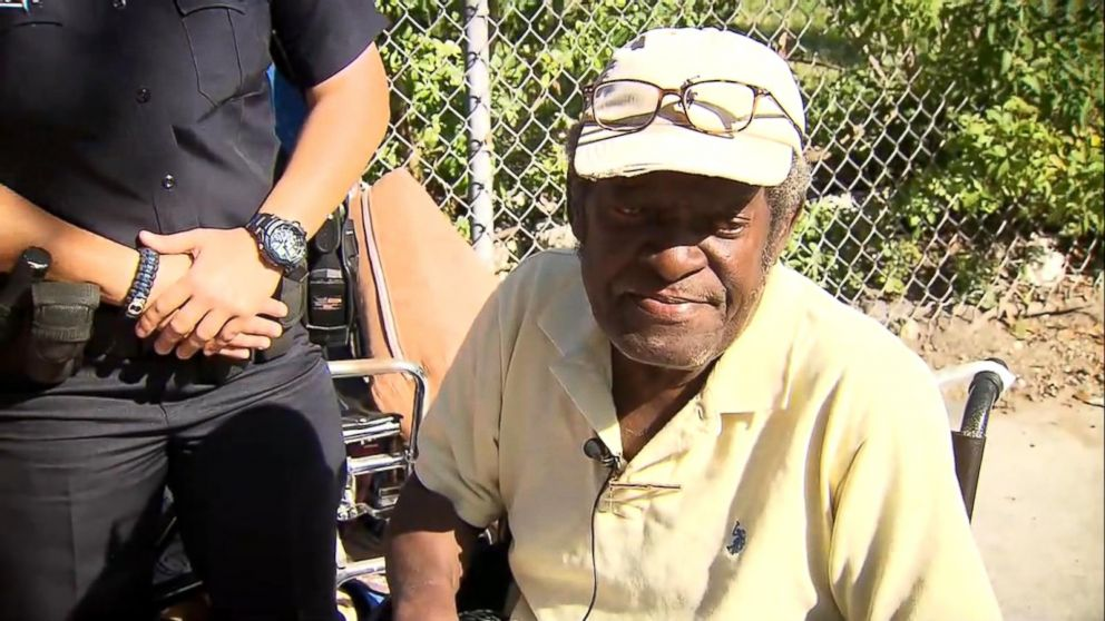 PHOTO: Anna Lazcano of the Miami Police Department provided a new wheelchair to a homeless amputee who was struggling to get around in his old one.