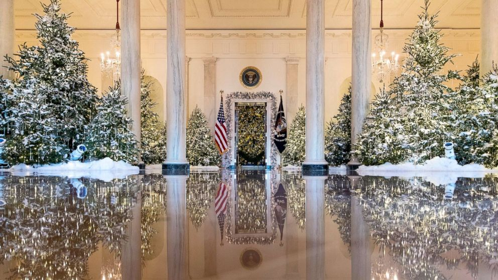 """The Grand Foyer and Cross Hall are decorated with """"The Nutcracker Suite"""" theme during a media preview of holiday decorations at the White House,Nov. 27, 2017."""