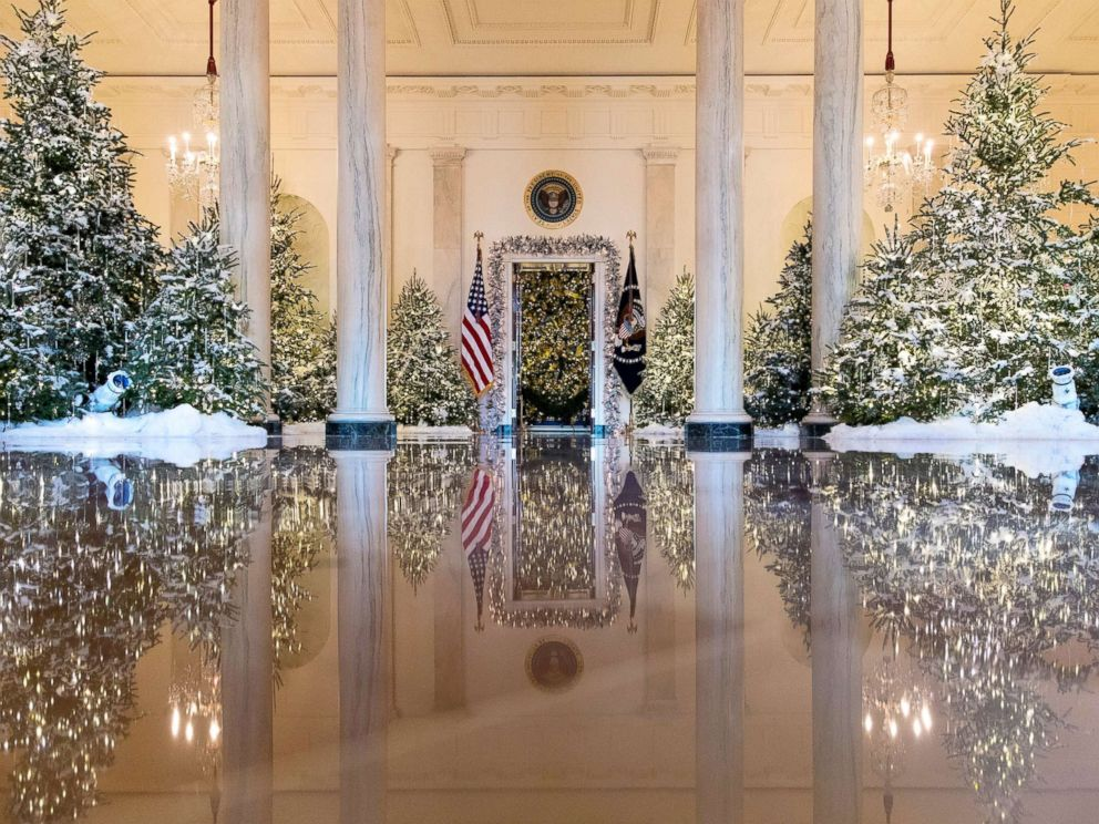 PHOTO: The Grand Foyer and Cross Hall are decorated with The Nutcracker Suite theme during a media preview of holiday decorations at the White House,Nov. 27, 2017.