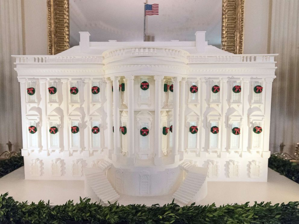 PHOTO: The gingerbread White House stands in the East Dining Room during a media preview of holiday decorations at the White House, Nov. 27, 2017.