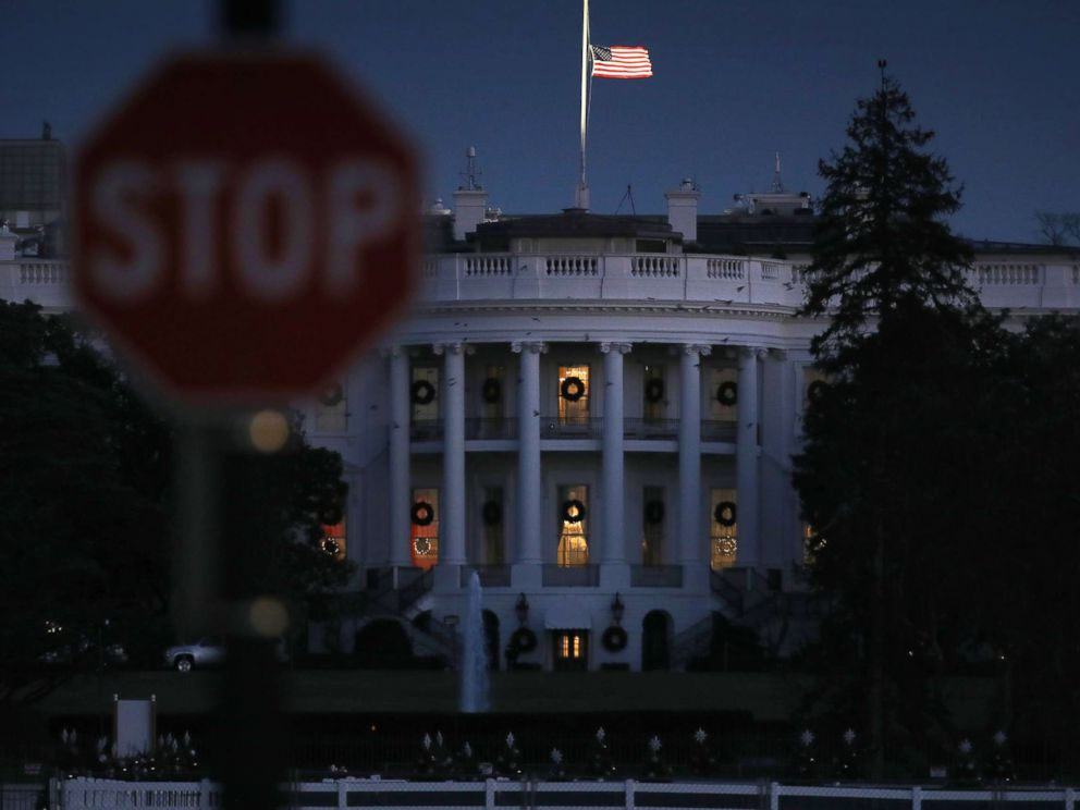 PHOTO: The White House is lit in the evening during a partial shutdown of the federal government on Dec. 24, 2018 in Washington.