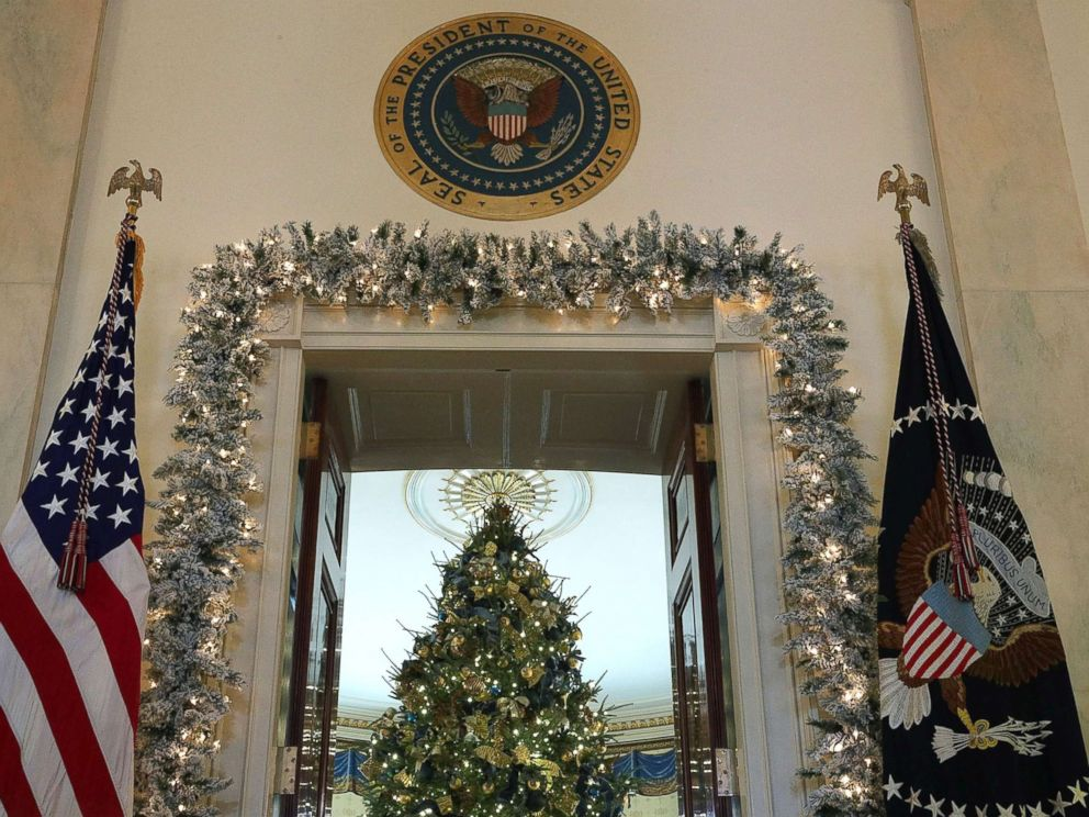 photo the official white house christmas tree stands in the blue room at the white - Blue And White Christmas Decorations