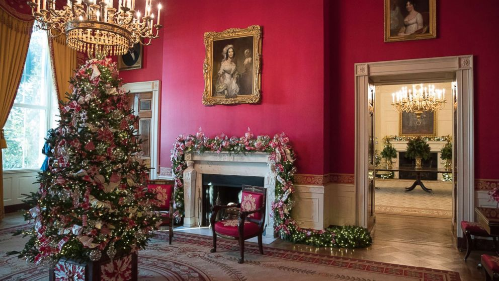 The Red Room decorated as part of 2017 holiday decorations at the White House in Washington, D.C., Nov. 27, 2017.