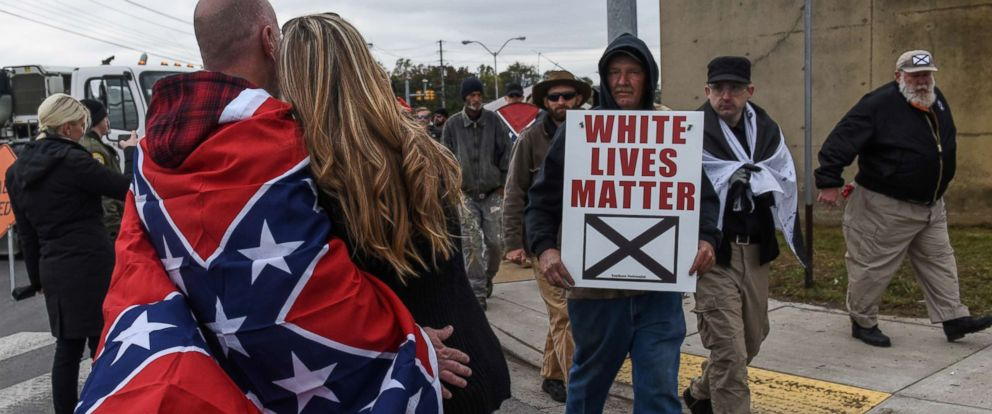 "PHOTO: People participate in a ""White Lives Matter"" rally in Shelbyville, Tenn., Oct. 28, 2017."