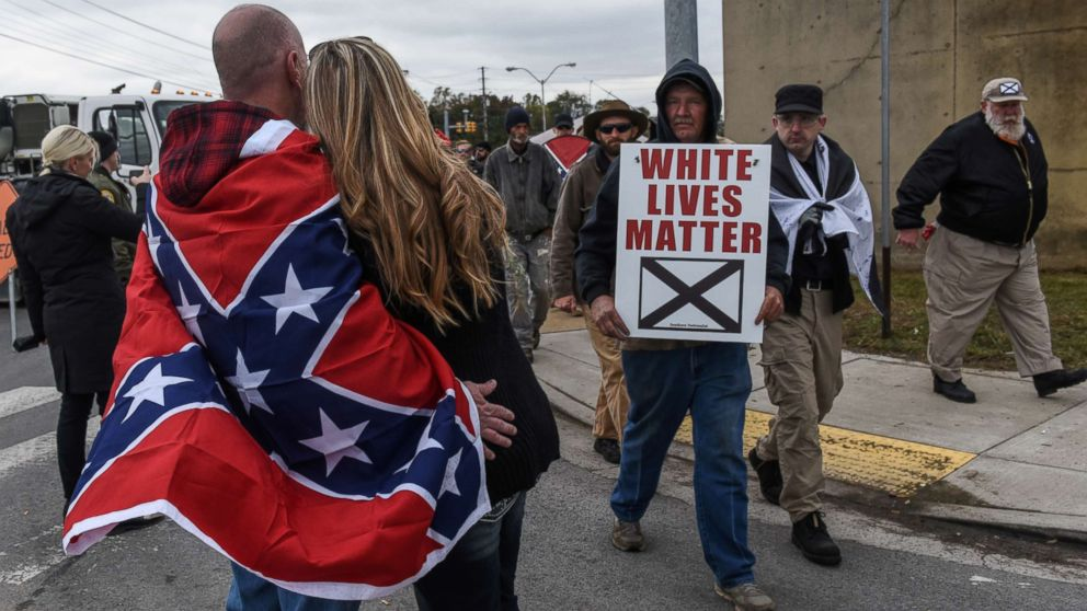 "People participate in a ""White Lives Matter"" rally in Shelbyville, Tenn., Oct. 28, 2017."