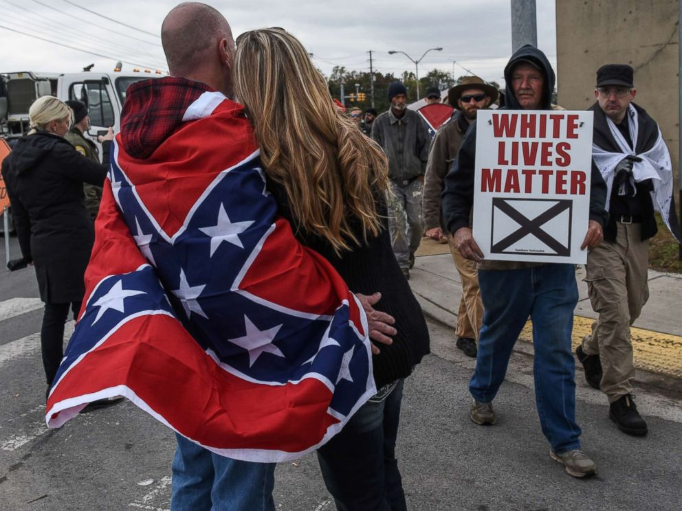 PHOTO: People participate in a White Lives Matter rally in Shelbyville, Tenn., Oct. 28, 2017.