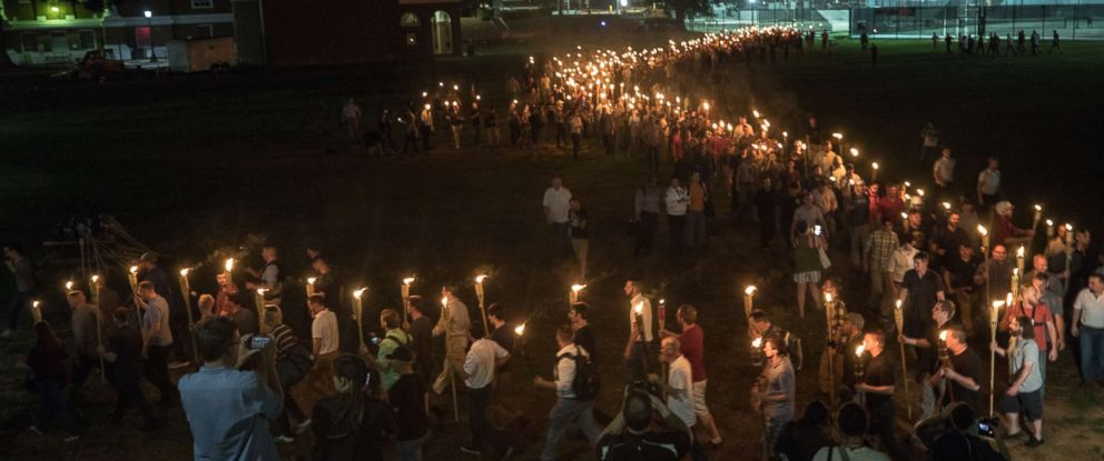 PHOTO: White nationalists and white supremacists carrying torches marched in a parade through the University of Virginia campus.