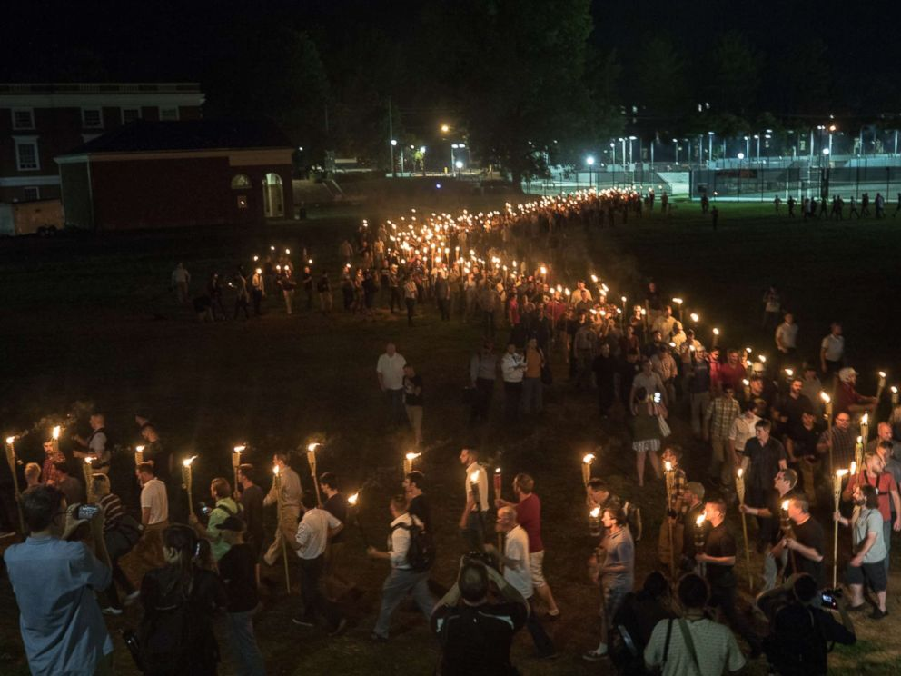 PHOTO: White nationalists and white supremacists carrying torches marched in a parade through the University of Virginia campus, Aug. 11, 2017.