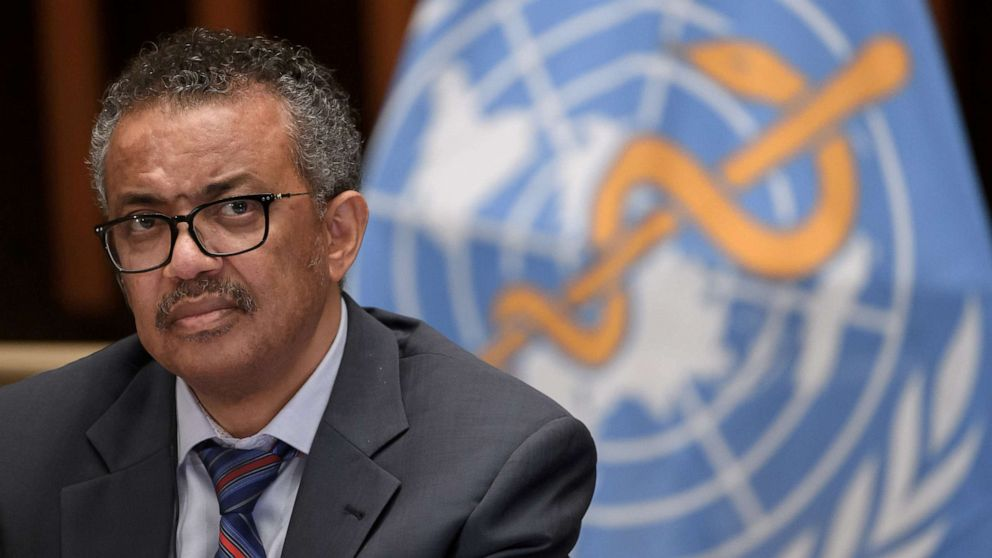 FILE PHOTO: World Health Organization (WHO) Director-General Tedros Adhanom Ghebreyesus attends a news conference at the WHO headquarters in Geneva Switzerland July 3, 2020.