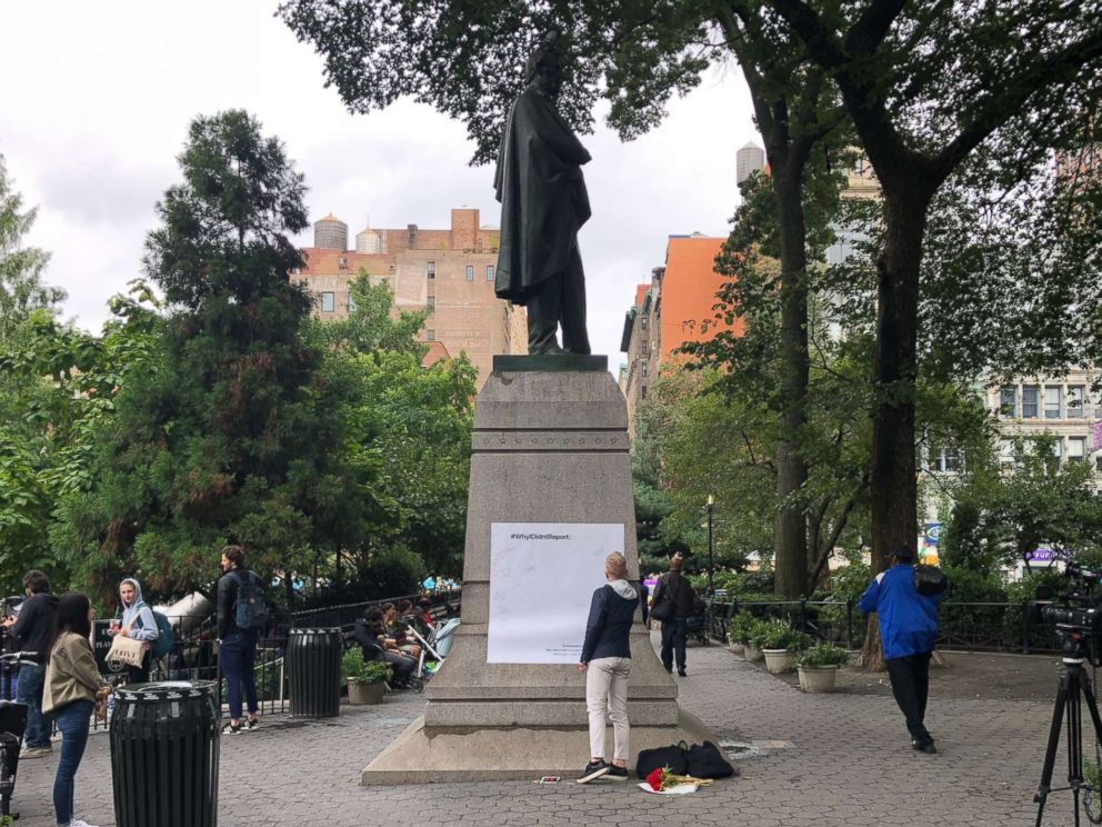 PHOTO: A photograph showing a large piece of paper that was taped to a monument Sept. 28, 2018 in Union Square where comments were recorded on.